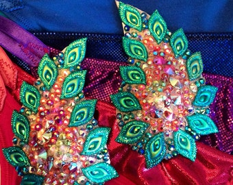 Paisley shaped, green, pink/red  pasties