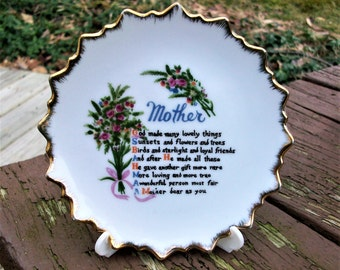 Vintage Mother Decorative Plate Wall Hanging Japan