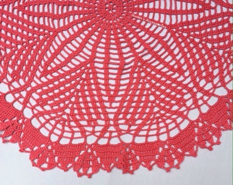 NEW - Handmade Lace Round Neon Pink Crochet Pure Cotton Doily, Vintage Home Decoration