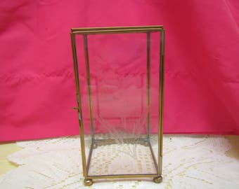 """vintage  GLASS and Brass JEWELRY Display Case with feet ** Etched flower design on door * 6  3/4 """" x 3  1/2 """" x 3  1/2 """""""