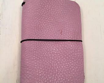 MC-P-107: PocketJot- Rosey Posey - Leather Traveler's Notebook/Fauxdori