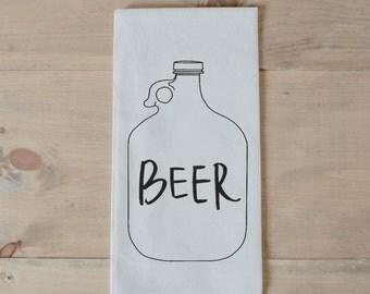 Bar Towel, Beer Bottle,  present, housewarming, men's towel, kitchen decor, men's gift, flour sack dish cloth