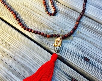 Sale !!!!  29.99  Was 39.99 ...Buddah mala tassel/108 beads/ rosewood necklase/Buddaha necklace/Mala necklace/tassel necklace/meditation