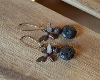Honeybee dangle earrings on kidney shaped ear wires.