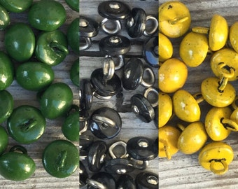 Shoe button lot. Choose color green, yellow or black. Shank buttons. Teddy bear doll eyes. Vintage sewing. Victorian repair. rr p27