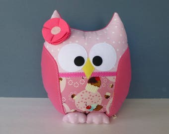 Owl Pillow - Pink with Cupcakes & Cherries