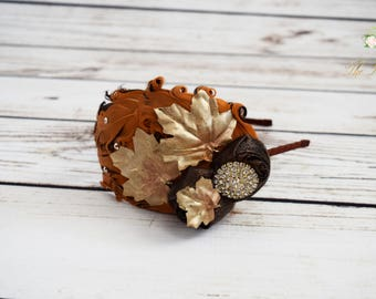 ON SALE Handcrafted Gold Fall Leaf 1920s Headband - Adult Feather Headband - Orange and Brown Headband - Autumn Accessory - Fall Wedding -Ma