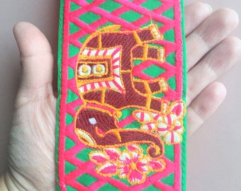 Green Fabric Trim With Elephant Embroidery, Maroon, Fuchsia, Orange And Beige Embroidered Trim - 200317L280