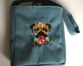 Blue Heavy Cotton Embroidered Pug Over The Shoulder Bag - Lined and with internal pocket - Made in Great Britain