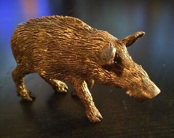 """OOAK Gullinborsti boar Polymer Clay dark brown gold 3,54""""x2,17"""""""
