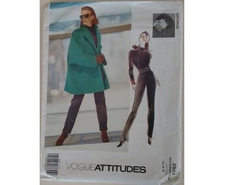 UNCUT Vogue #2562 Attitudes Jennifer George Misses' Coat Jacket, Turtle Polo Neck Top and Trouser Pants Sewing pattern 3 Sizes UK 14 16 18