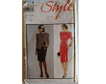 "Part UNCUT Vintage 80's Style 4974 Pattern Ladies Suit Fitted Jacket and Skirt 2 Options Size Bust 36"" UK 14"
