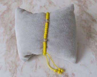 Beaded Bracelet/ For Money/ Yellow/ Atraction/ Evil Eye/ Adjustable/ For Him/ For Her