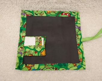 Ninja Turtles, Travel Chalkboard, Chalkboard Mat, RollUp Chalkboard, Child Chalkboard, Kid Chalkboard, Lap Chalkboard, Chalkboard,Quiet Book