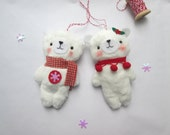 Set of 2 handmade plush bear ornaments, Christmas ornaments, stocking stuffers