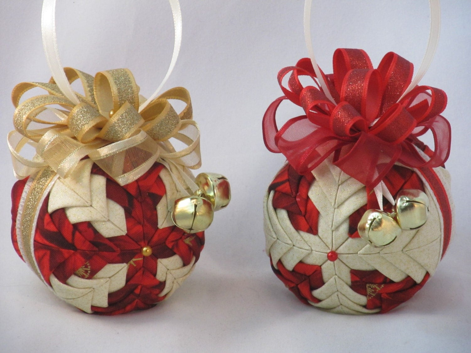 Christmas Ornaments set of 2 quilted no sew gold and red