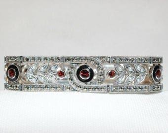 Sterling Silver Garnet, Pearl, Marcasite and Enamel Bracelet