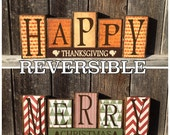 SALE--Ready to Ship-Reversible Christmas and Thanksgiving wood blocks-Happy Thanksgiving reverses with Merry Christmas-chevron paper