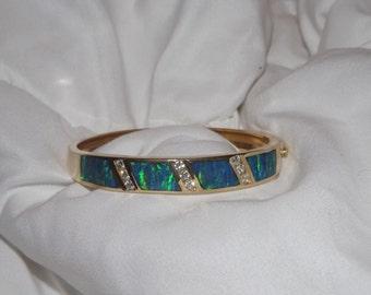 KABANA 14k Yellow Gold Australian Black Opal & Diamond Designer Bangle Bracelet-On Sale Now