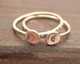 Sterling silver stackable initial stamped ring, sterling silver skinny ring made  to order