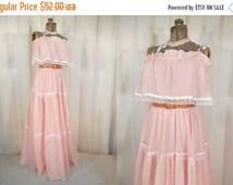 SALE Vintage 1960s Dress / Prairie Maxi Dress / Boho Sun Dress / Pink Gunne Sax Style Festival Dress / Simple Hippie Wedding Dress