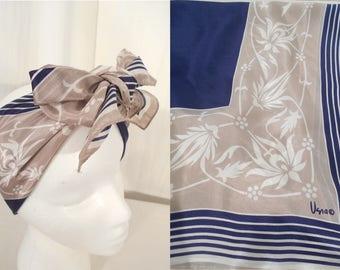 Vintage Vera Neumann Scarf - 1950s Silk Scarf, Large Blue Gray Square Scarf, 50s Silk Scarf, Vera Silk Scarf