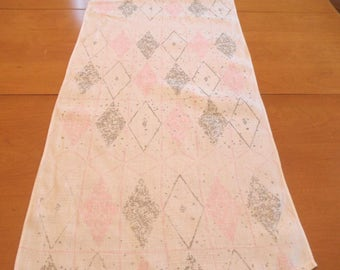 "Modern table runner in pink / vintage mid century modern harlequin table topper / retro serving 16.5"" x 60"""