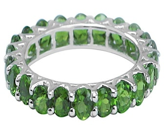 2.85ct Chrome Diopside Sterling Silver Eternity Band
