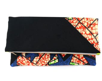 African Fabric II  - Fold-Over Clutch | Stripes | Red | Beige | Green | Blue | Triangle Accent