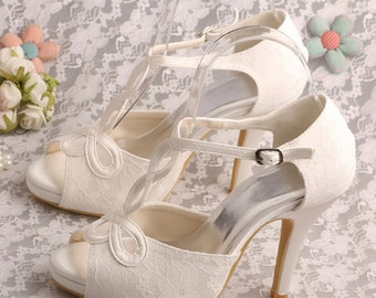 Custom handmade ivory white red black t-strap satin lace peeptoe platform heel bridal wedding ankle court
