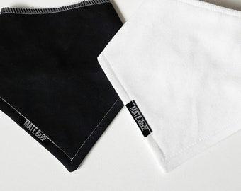 Solid color, plain bandana bib, black and white, monochrome Gender neutral, Bibdana, drool bib, Newborn to toddler, Made in Canada. Teething