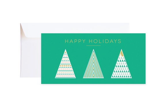 """Christmas Card """"Xmas Trees"""" // single greeting card including envelope // available as discount set // Modern graphic hipster card"""