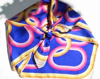 Stunning vintage silk scarf by Marcella Tanzi for Court Line, 1970's