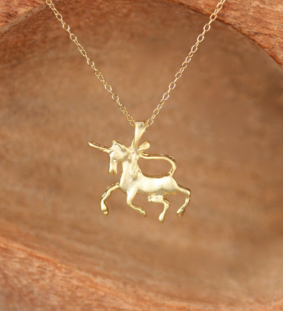 Gold Unicorn Necklace - Magestic creature - einhorn necklace - magic necklace - unicorn jewelry