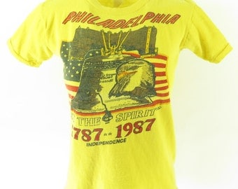 Vintage 80s Philadelphia Independence T-Shirt Womens 8 Liberty Bell Eagle [H38P_0-5]