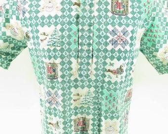 Vintage 80s 1988 Reyn Spooner  Shirt L Christmas Gold Label Reverse Print [G98W_0-10]