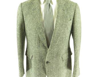 Vintage 80s Harris Tweed Herringbone Sport Coat 40 Wool 2 Button England [H01C_2-2]