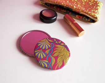 Tropical Print Girly Pocket Mirror, Colourful Compact Mirror, Gifts for Her, Pink Pocket Mirror, Tropical Patterned Mirror, Pink Mirror,