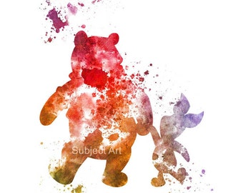 Winnie the Pooh and Piglet ART PRINT illustration, Disney, Mixed Media, Home Decor, Nursery, Kid