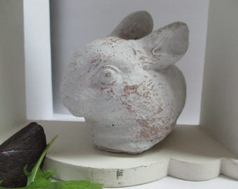 Rabbit cement bunny rabbit white washed painted cement bunny cement bunny statue rabbit figurine painted rabbit figure