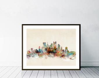 pittsburgh city skyline.pittsburgh pennsylvania.pittsburgh cityscape.colorful watercolor skyline.Giclee art print.color your world with bri.