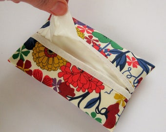 Tissue Case in Liberty of London and Linen, Travel Tissue Holder, Pocket Tissue Pouch