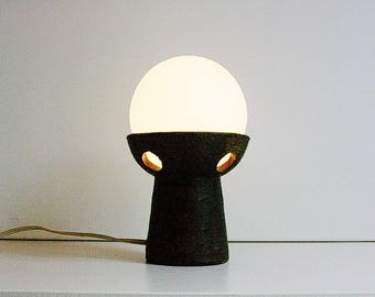 Dutch ceramic / chamotte table lamp with white milk glass shade.
