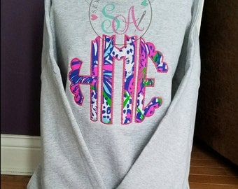 Large Lilly print monogram sweatshirt