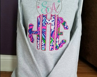Large Lilly print/floral monogram sweatshirt