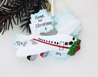 FREE SHIPPING Home for Christmas Personalized ornament / Airplane Ornament / Travel Ornament / Hand Personalized Name or Message