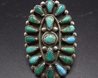 1940s Vintage NAVAJO Sterling Silver & Natural TURQUOISE Cluster RING, size 6.75