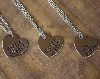 Sister necklace/Big sister necklace/Little sister necklace/Middle sister necklace/Stamped necklace /Sorority sister necklace/ heart necklace
