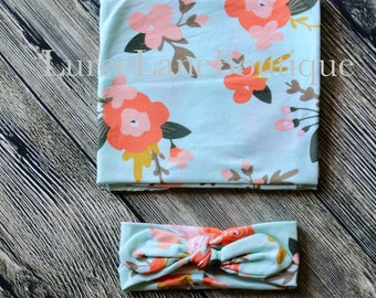 Floral swaddle set/Baby girl swaddle set/Baby shower gift/Newborn swaddle set/ Headband swaddle set/ Baby headband set/ Baby girl gift
