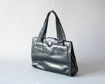 Vintage black Italian leather handbag, black hand bag 60s fashion, party accessories statement bag Italian leather bag, fashion accessories
